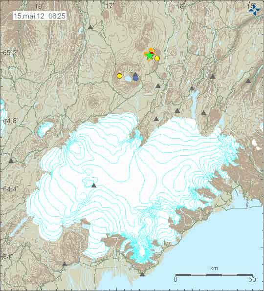 Earthquake swarm near the Askja caldera on 14-15 May 2012 (Icelandic Met Office)