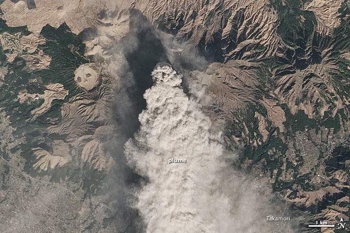 Nasa satellite image of ash emissions from Aso volcano on 13 Jan 2015 (NASA Earth Observatory)
