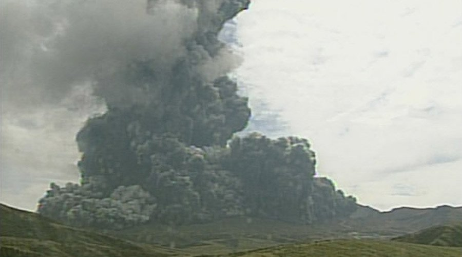 Eruption of Aso volcano this morning