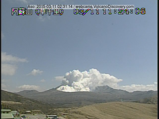 Steam plume from Aso's Nakadake crater today