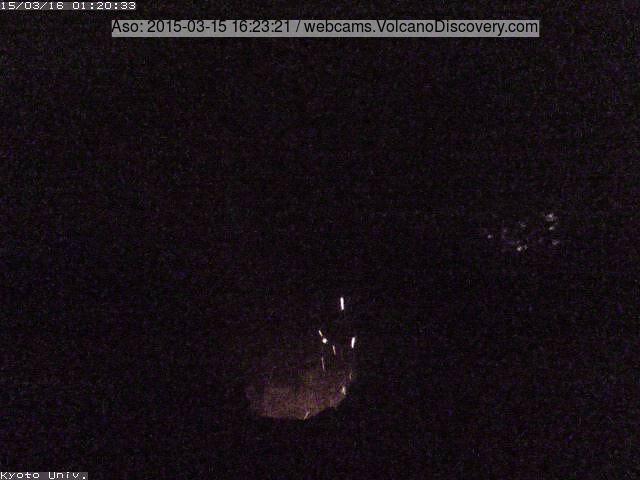 Weak strombolian eruption at Aso's Nakadake crater this morning