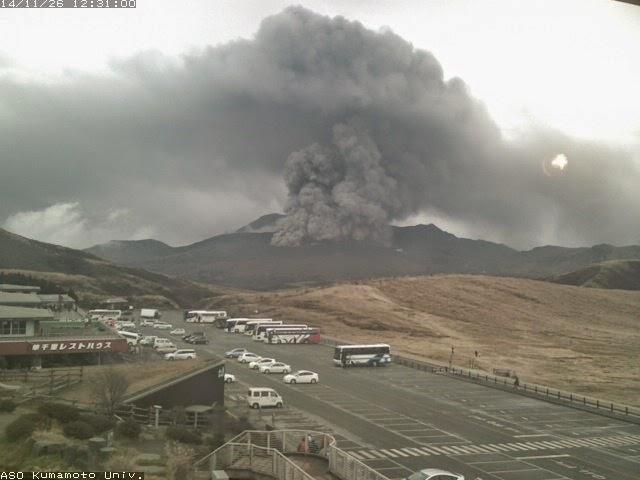 Eruption at Aso volcano Wednesday (Kumamoto university webcam)