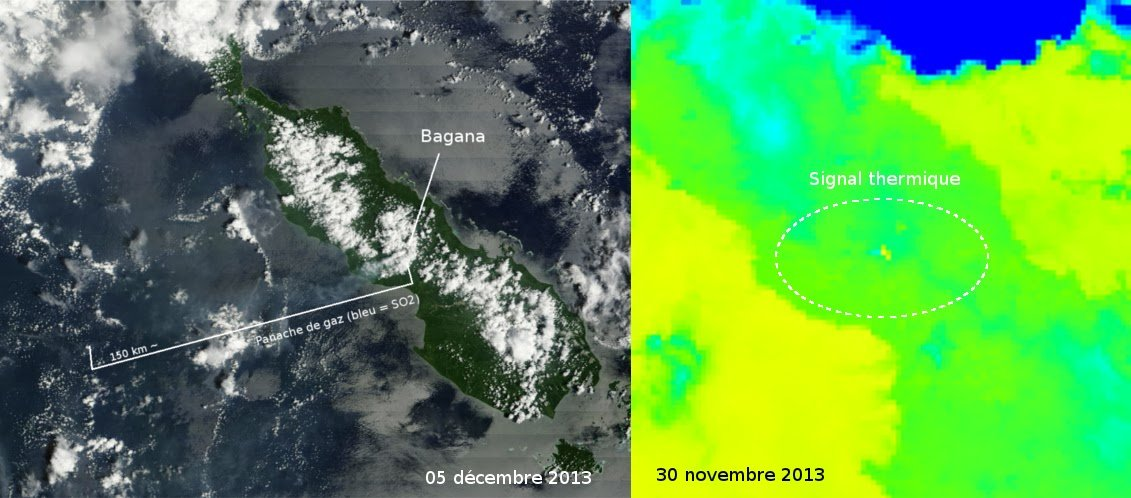 Degassing plume from Bagana today and heat signal on 30 Nov (Blog Culture Volcan)
