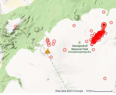 Earthquakes under Bárdabunga volcano during the first 10 hours of today