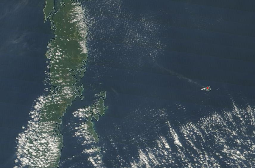 Steam (and ash?) plume from Barren Island on 1 March (red spot is a thermal anomaly detected by the VIIRS radiometer onboard NASA's Suomi NPP)