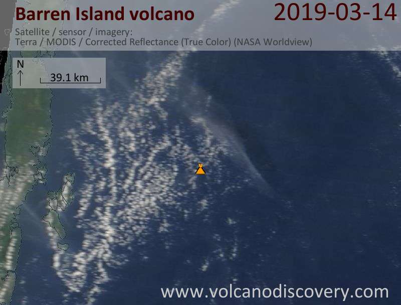 Satellite image of Barren Island volcano on 14 Mar 2019