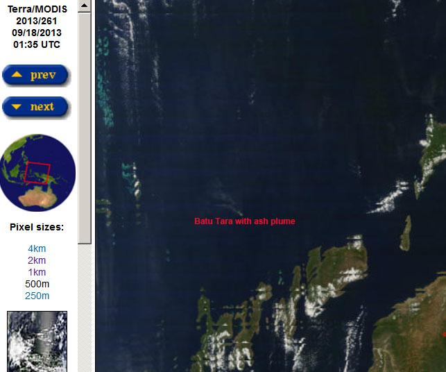 Ash plume from Batu Tara on 18 Sep (Terra / NASA satellite image)