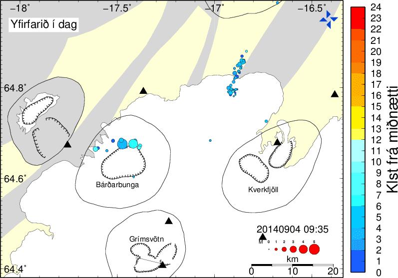 Earthquakes around Bárdarbunga today so far (IMO)