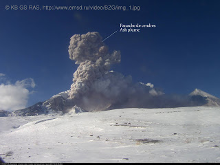 Ash plume from Bezyianny's second explosion on 9 March 2017 (image: KB-GS-RAS, annotatons: Culture Volcan)