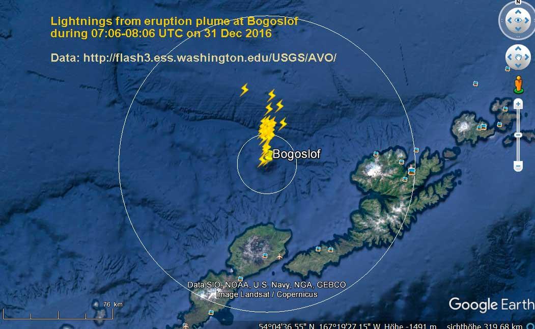 Lightnings detected near Bogoslof volcano during one hour 7-8 am UTC this morning
