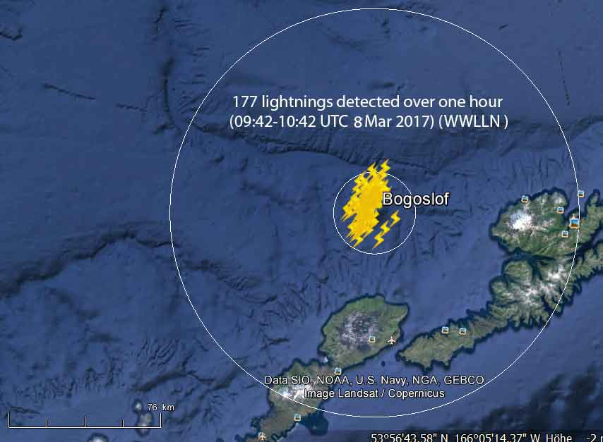 Lightnings detected in the ash plume within one hour shortly after the eruption (WWLLN / AVO)