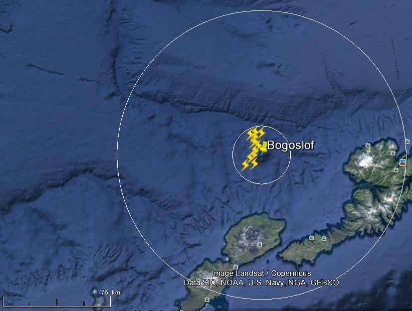 Lightings detected near Bogoslof volcano during the past hour (image: WWLLN / AVO)
