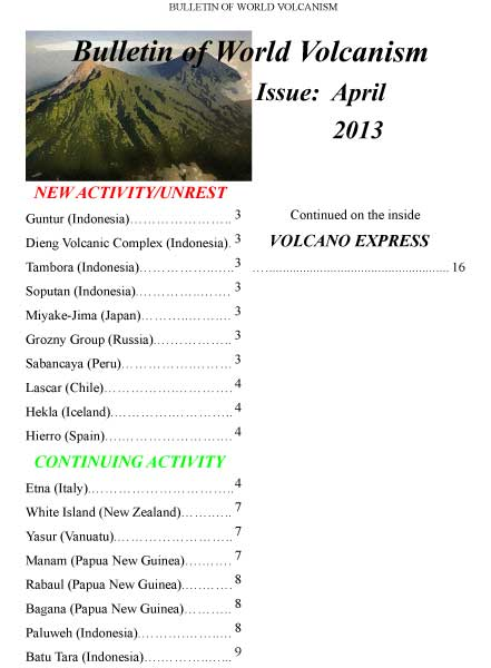 Bulletin of World Volcanism April 2013 - cover