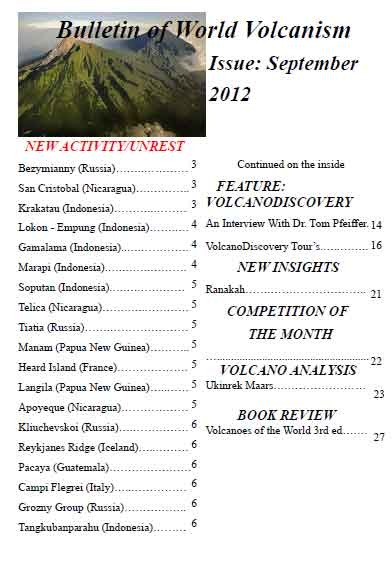 Bulletin of World Volcanism Sep 2012 issue cover