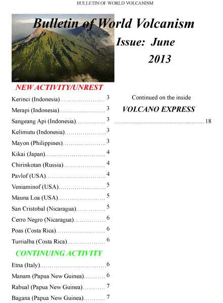 Bulletin of World Volcanism June 2013 - cover