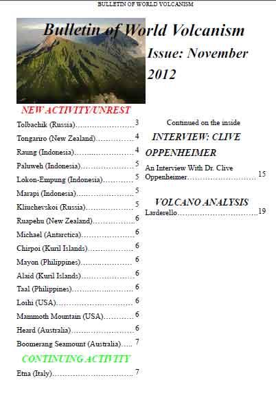 Bulletin of World Volcanism Nov 2012 - summary of volcano activity worldwide