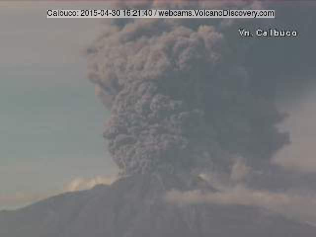 Ash column erupted from Calbuco today