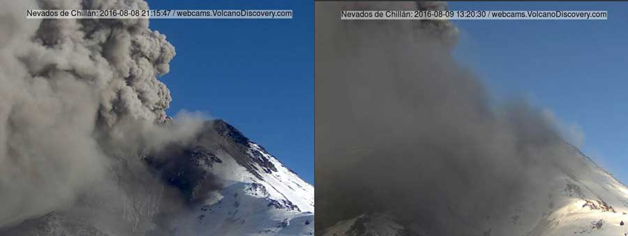 Ash eruptions of Chillán volcano during the past 2 days