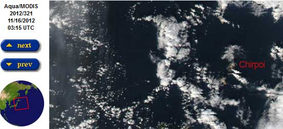 Steam plume from Chirpoi volcano on 16 Nov (NASA)