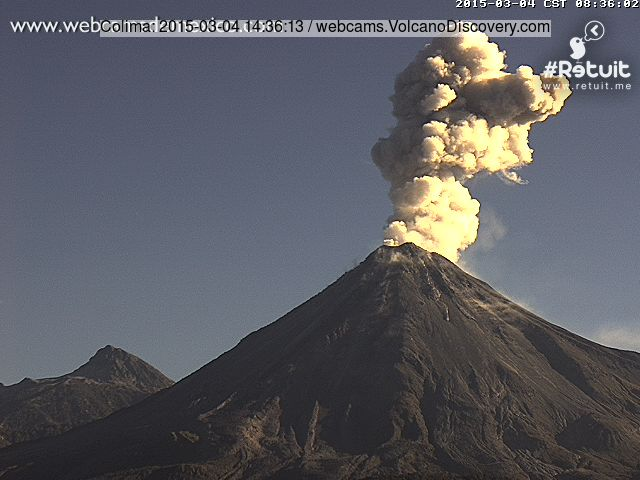 Ash eruption from Colima this morning