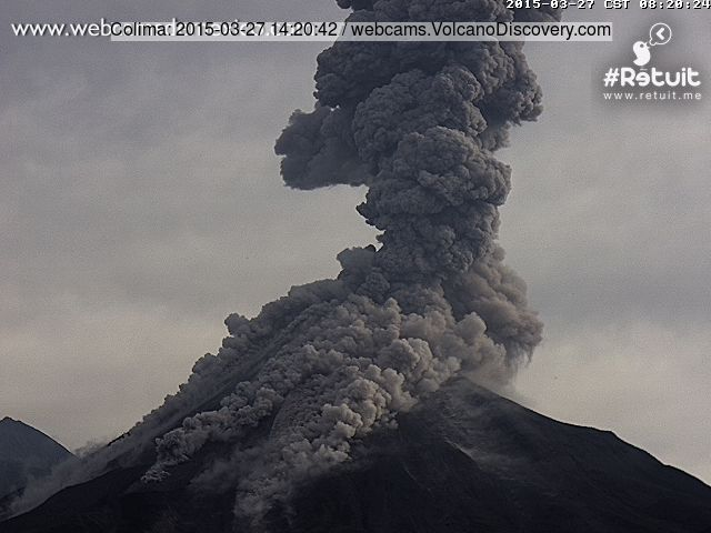 Pyroclastic flow from Colima this morning