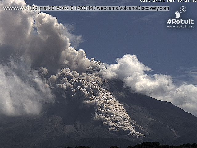 Pyroclastic flow from Colima this afternoon