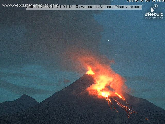 Explosions, a new lava flow (center of image) and glowing rockfalls at Colima yesterday evening