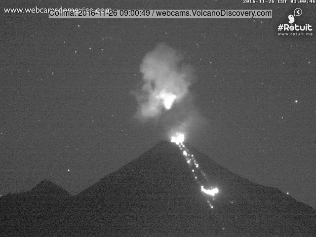 Active lava flow on Colima's southern flank and small explosion plume this morning