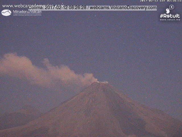 Weak ash emission from Colima this morning