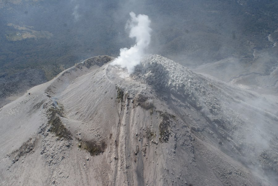Aerial view of Colima volcano on 7 March, showing the viscous lava dome at the summit (photo: Proteccion Civil Jalisco Uepcbj / facebook)