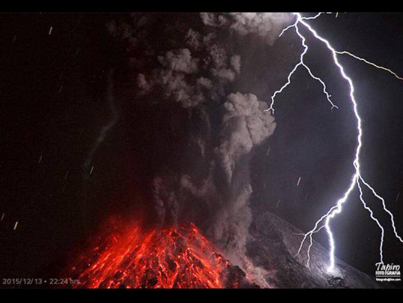 Eruption lightning from Colima on 14 Dec 2015 (image: Sergio Tapiro)
