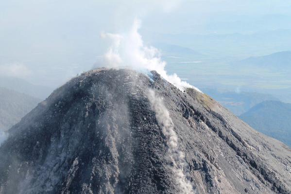 The summit of Colima volcano with its active lava dome on 31 Dec 2014 (Protección Civil Jalisco @PCJalisco / twitter)