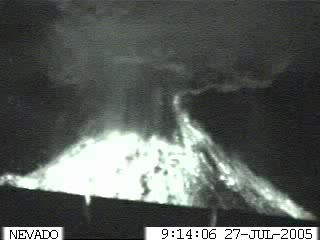 Image captured from the webcam at Colima volcano, showing the powerful explosion on the early morning of 27 July.