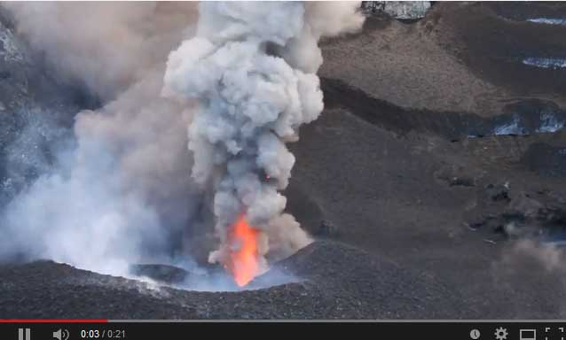 Screenshot of a video from 3 Dec looking at the erupting vent in Copahue's crater (Robin Campion, Univ. Mexico)