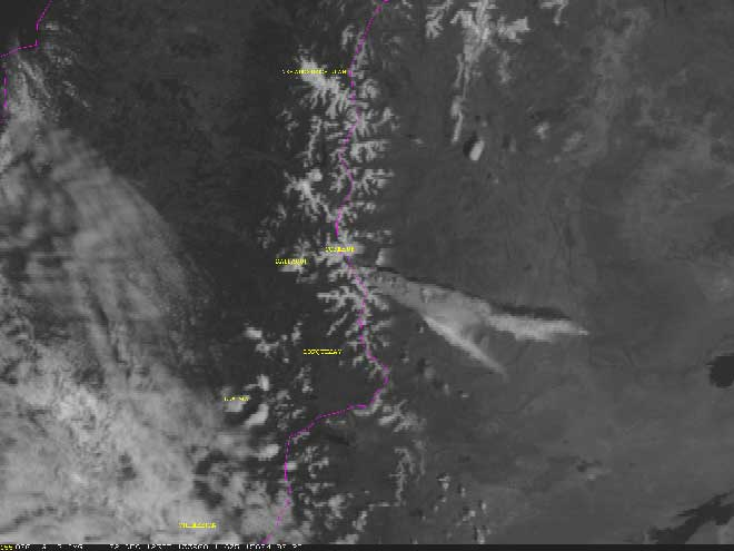 An initial ash plume from Copahue spreading to the ENE, image from NOAA