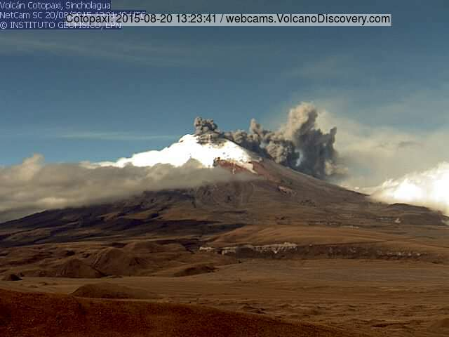 Ash emissions from Cotopaxi yesterday morning
