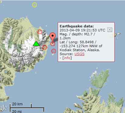 Map of recent quakes at Douglas volcano in Alaska