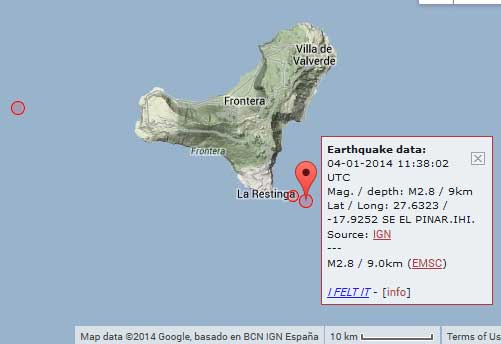 Map of yesterday's earthquakes at El Hierro