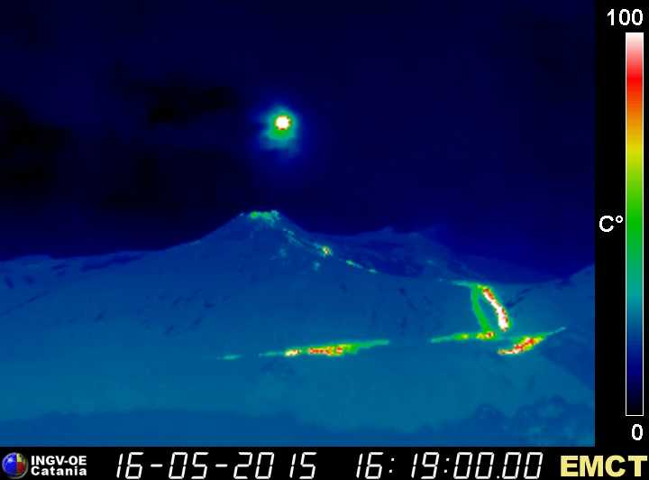 Lava flows from the New SE crater (INGV Monte Cagliato thermal webcam)