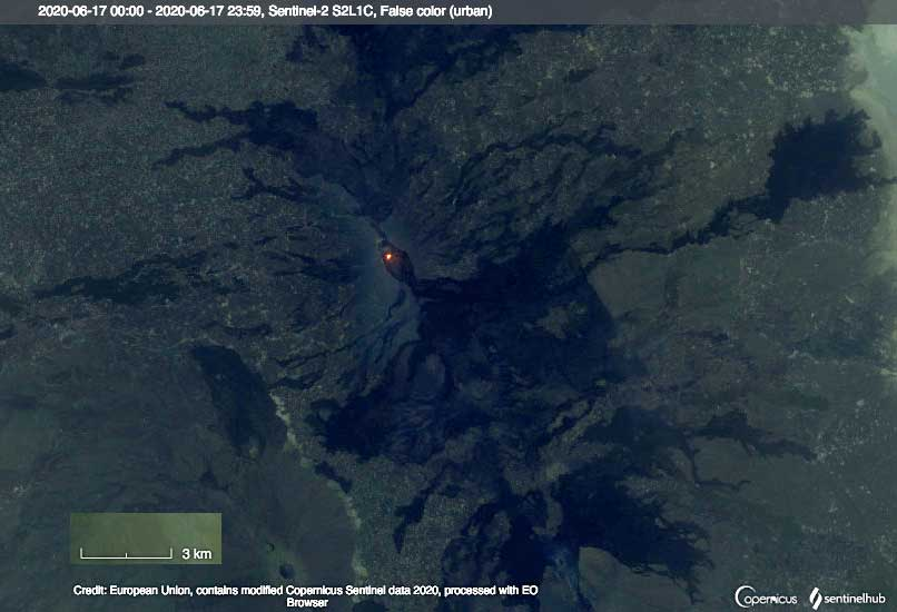Satellite image of Erta Ale volcano showing the heat signal from its summit lava lake