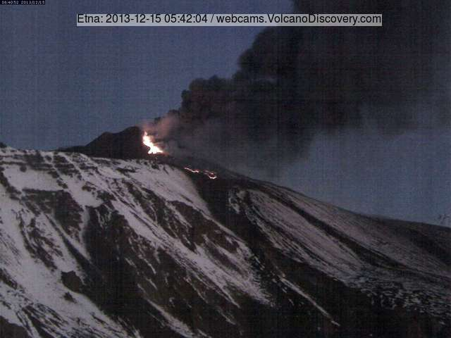 Explosions, ash and lava flow emission at Etna's New SE crater at dawn