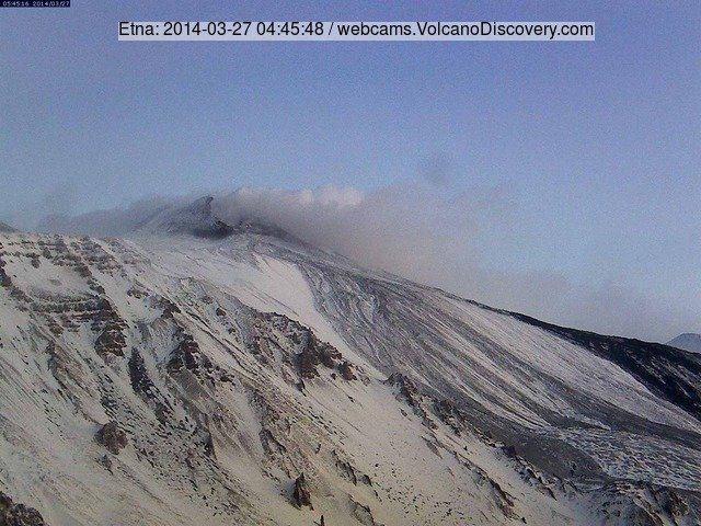 Etna's New SE crater this morning (Etna Trekking webcam on Schiena dell'Asino)