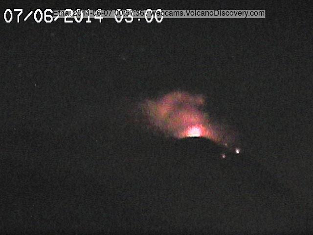 Стромболианская взрыв на NSEC Этна в прошлом ночь (Radiostudio7 камера)