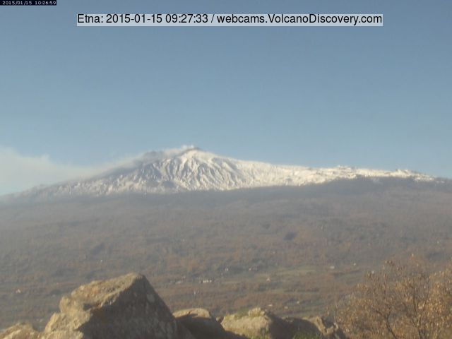 Dilute ash emissions from Etna's NE crater on 15 Jan 2015 (Etnatrekking webcam Linguaglossa)