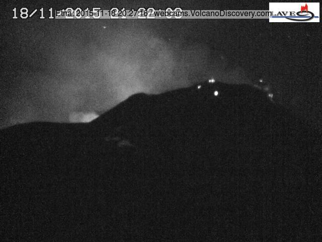 Glow from Etna's Voragine during a small strombolian explosion