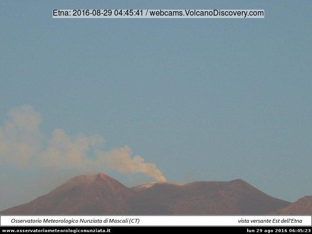Steam/ash plume from Etna's Voragine this morning