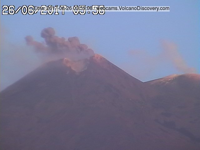 Ash puff from Etna's SE crater this morning (image: RadioStudio7)