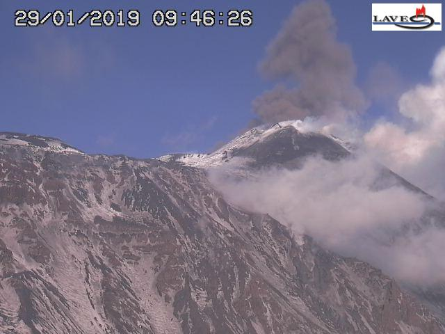 Ash emissions from Etna this morning from Bocca Nuova visible in backgroun, with the SE crater in front (image: LAVE webcam)