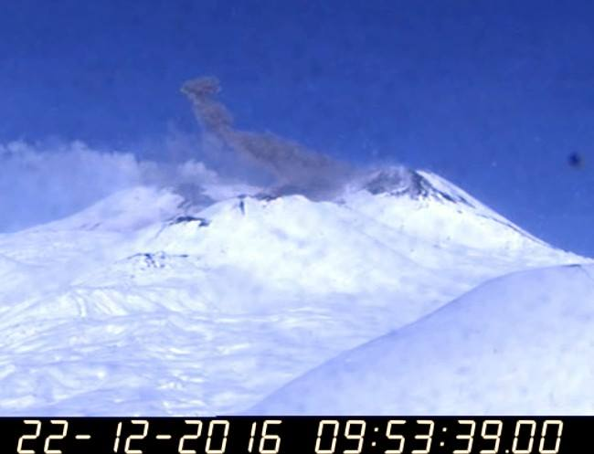 Ash venting from Etna's SE crater (image: INGV Catania via B. Behncke / facebook)