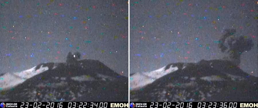 Eruption of Etna's NE crater yesterday morning (INGV Catania)